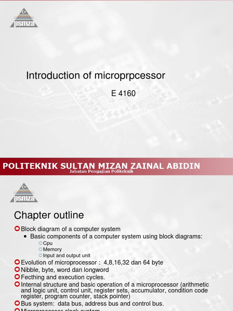 E 4160 Introduction to Microprocessor | Central Processing Unit | Computer  Data Storage