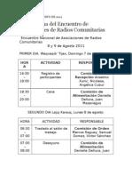 Cronograma Del Encuentro de Asociaciones de Radios Com Unit Arias