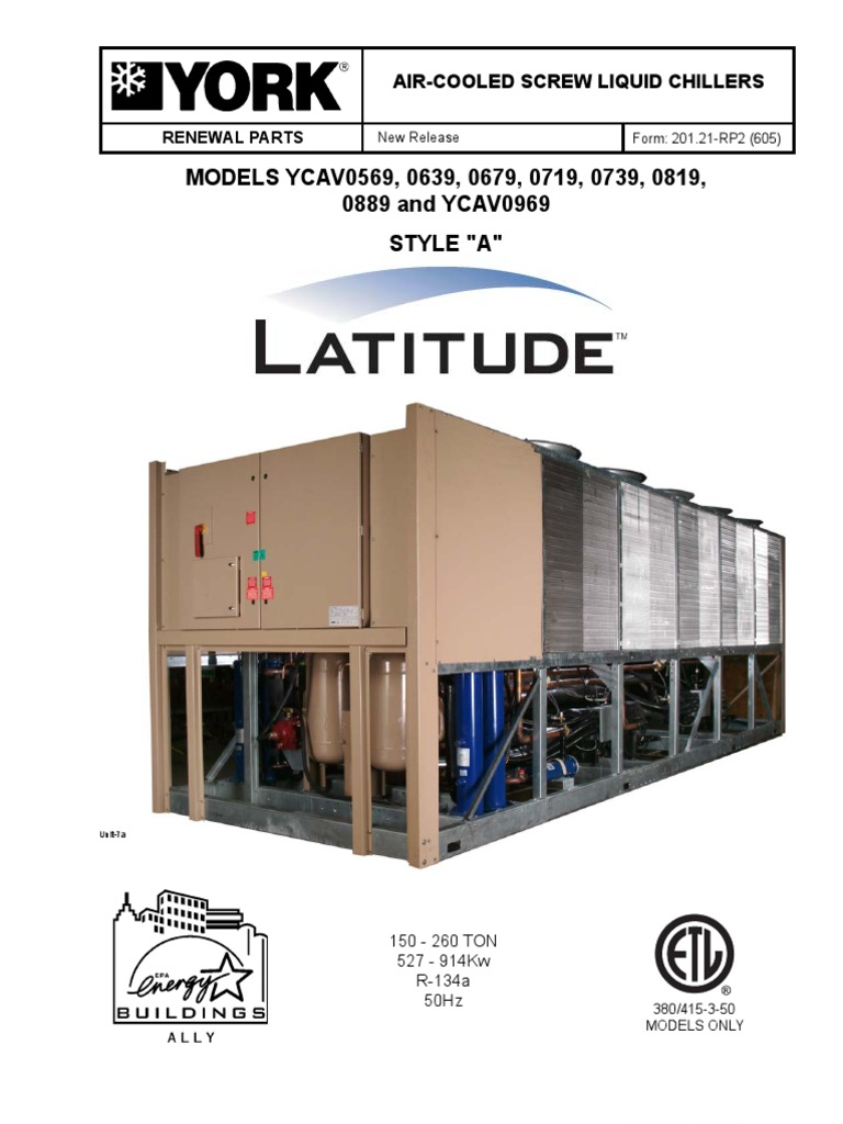 york air cooled screw liquid chillers style a latitude rh scribd com York Yr Chiller Service Manual York Chiller Model Number Search