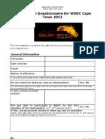 WSDC 2012 Adjudicator Questionnaire