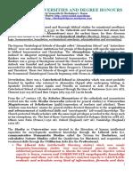 Origin of Universities and Degree Honours