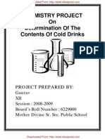 CBSE XII Chemistry Project Determination of the Contents of Cold Drinks