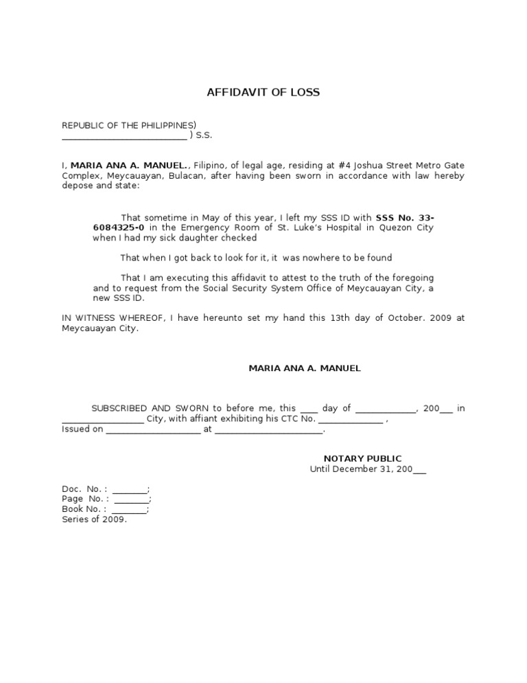 Sample Affidavit Format