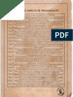 Table des Aspects de Personnalité