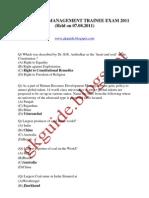 Coal India Management Trainee Exam 2011 Solved Paper