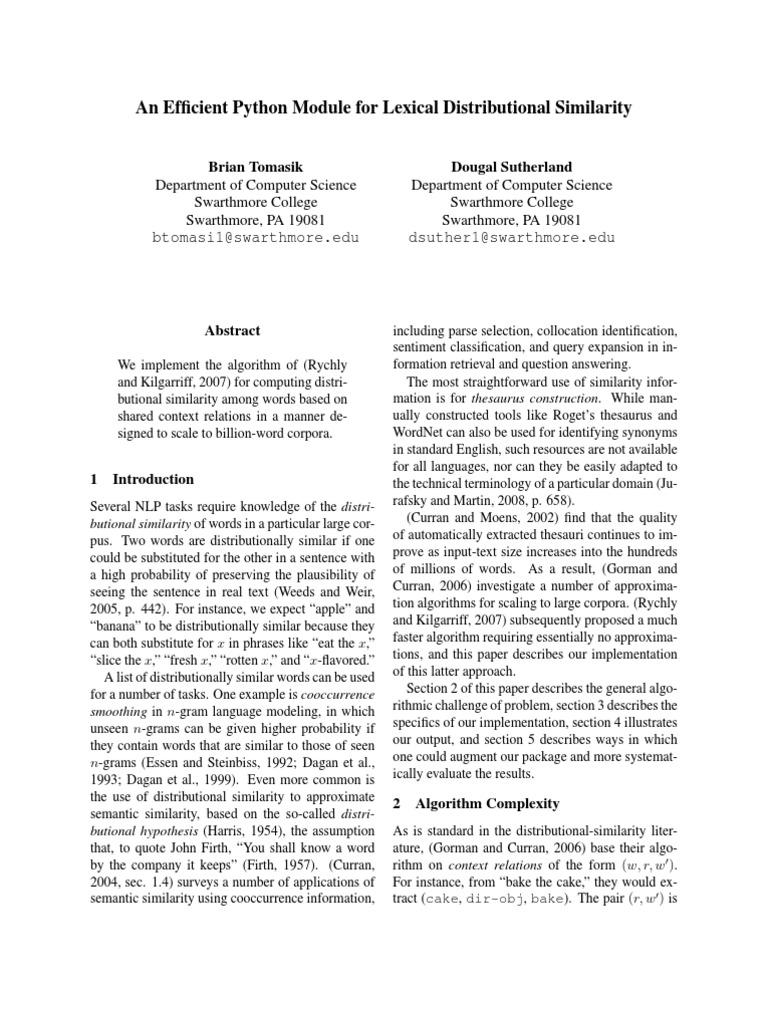 An Efficient Python Module for Lexical Distributional