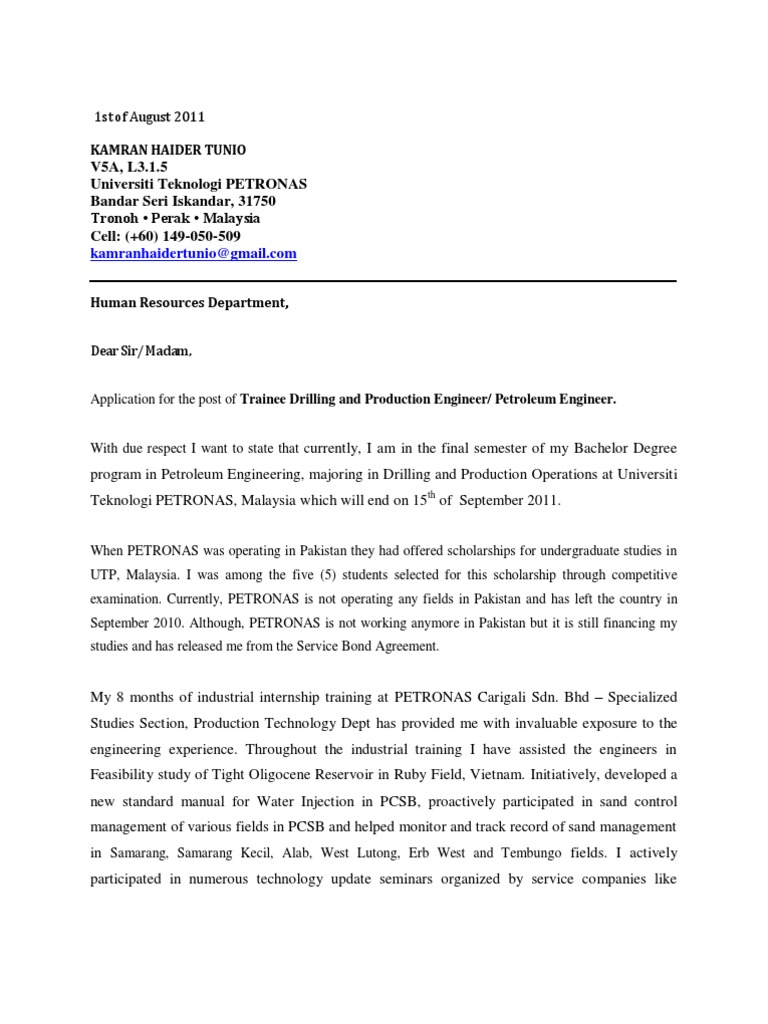 Cover Letter + Resume | Engineering | Petroleum Reservoir