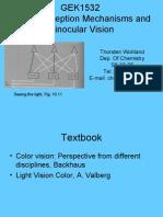 GEK1532 Color Vision & Binocular Vision