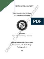 Adams, MajGen Arthur H Transcript Anderson 10-27-83