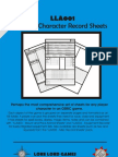 LLA001 OSRIC Player Character Record Sheets