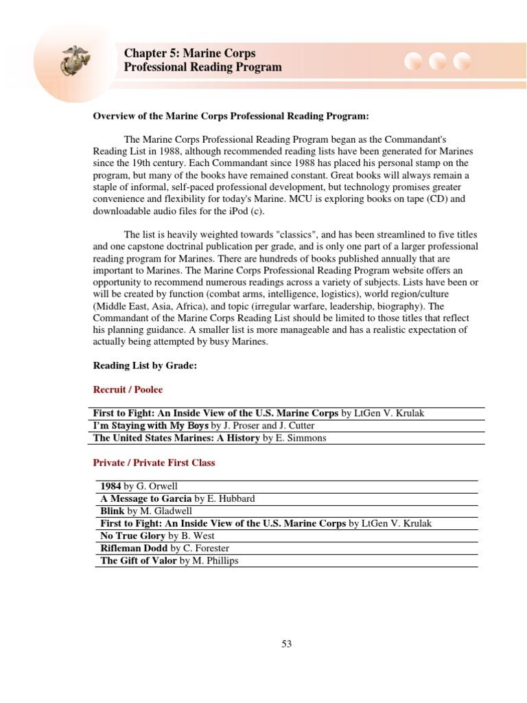 marine corps professional reading program 2011   united states