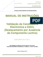 Manual de Instruções – Validação da Candidatura a DACL; 2011.ago.08