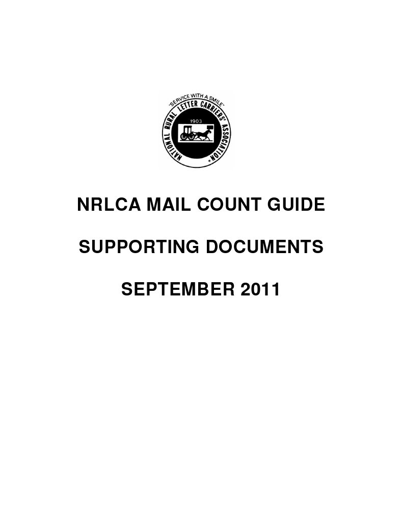 2011 NRLCA Mail Count Guide Support Docs 8-4-2011 | Post