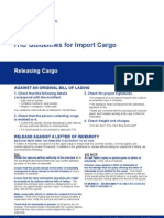 Guidelines for Import Cargo 2008