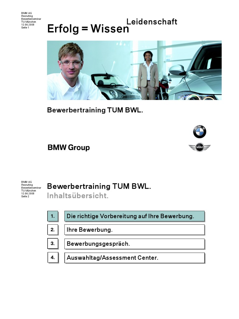 bmw bewerbertraining tum - Bmw Bewerbung