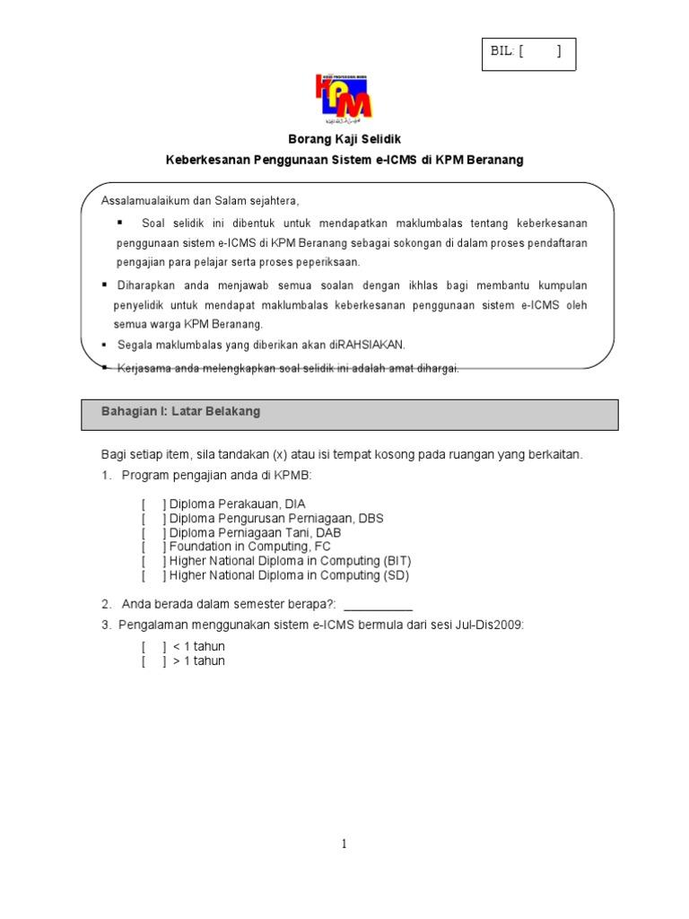 Borang Kaji Selidik Sistem E Icms Pelajar Kpmb Updated 18022011