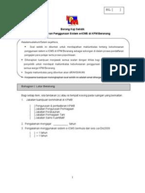 Borang Kaji Selidik Sistem E Icms Pensyarah Kpmb
