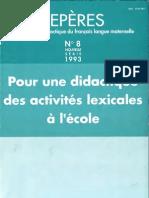 Didactique des activités lexicales à l'école