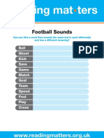 Reading Matters 10 Worksheets Football the Me