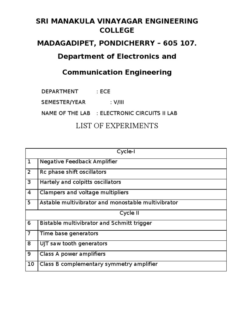 Electronic Circuits Laboratory Experiments Amplifier Generator Circuit Using Crystal Oscillator