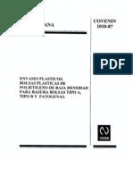 COVENIN 1010-87 Envases de plástico, bolsas de PEBD