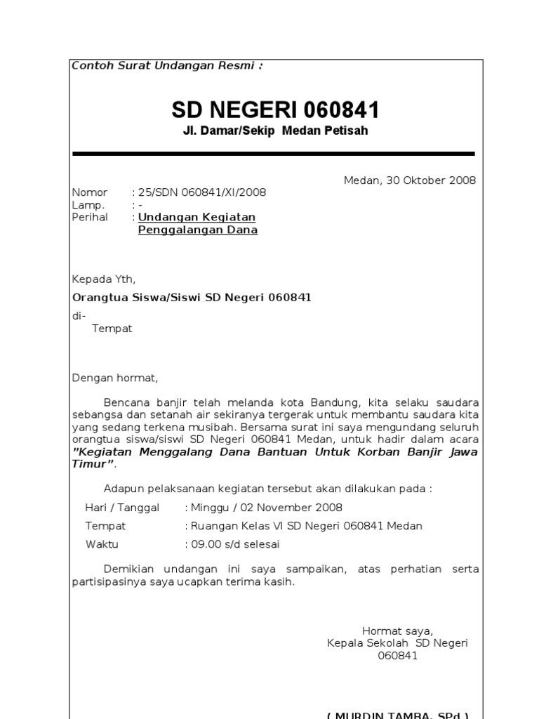 surat resmi untuk mengundang sekolah lain frasmi