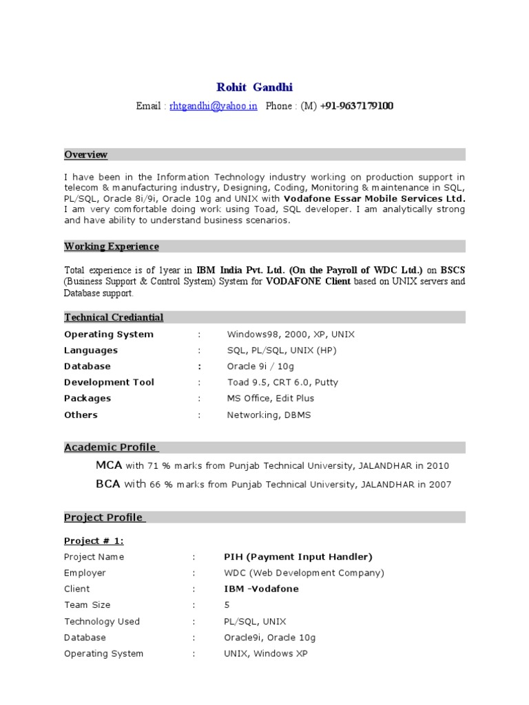 CV_Rohit | Oracle Database | Databases