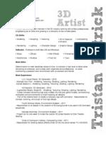 Tristan Patrick - Resume 2012