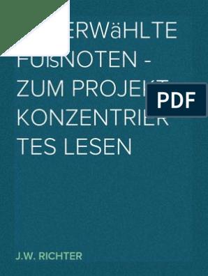 Auserwahlte Fussnoten Zum Projekt Konzentriertes Lesen