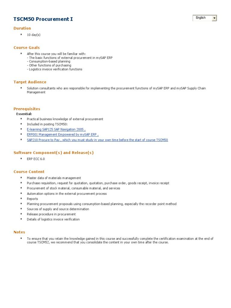 SAPMM Procurement | Procurement | Supply Chain Management