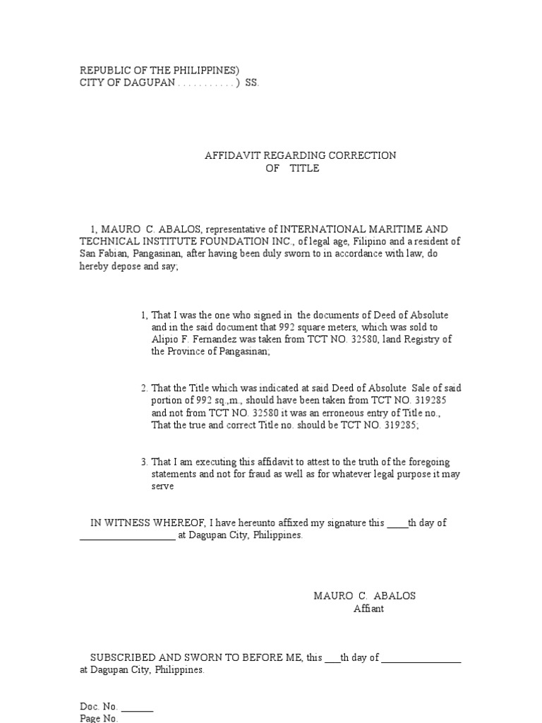 Affidavit Of Correction