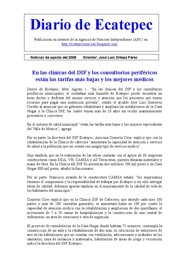 Diario de Ecatepec Noticias 1-31 Agosto