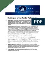 Postal Reform Act Highlights