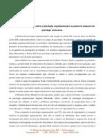 Histórico sobre a psicologia organizacional