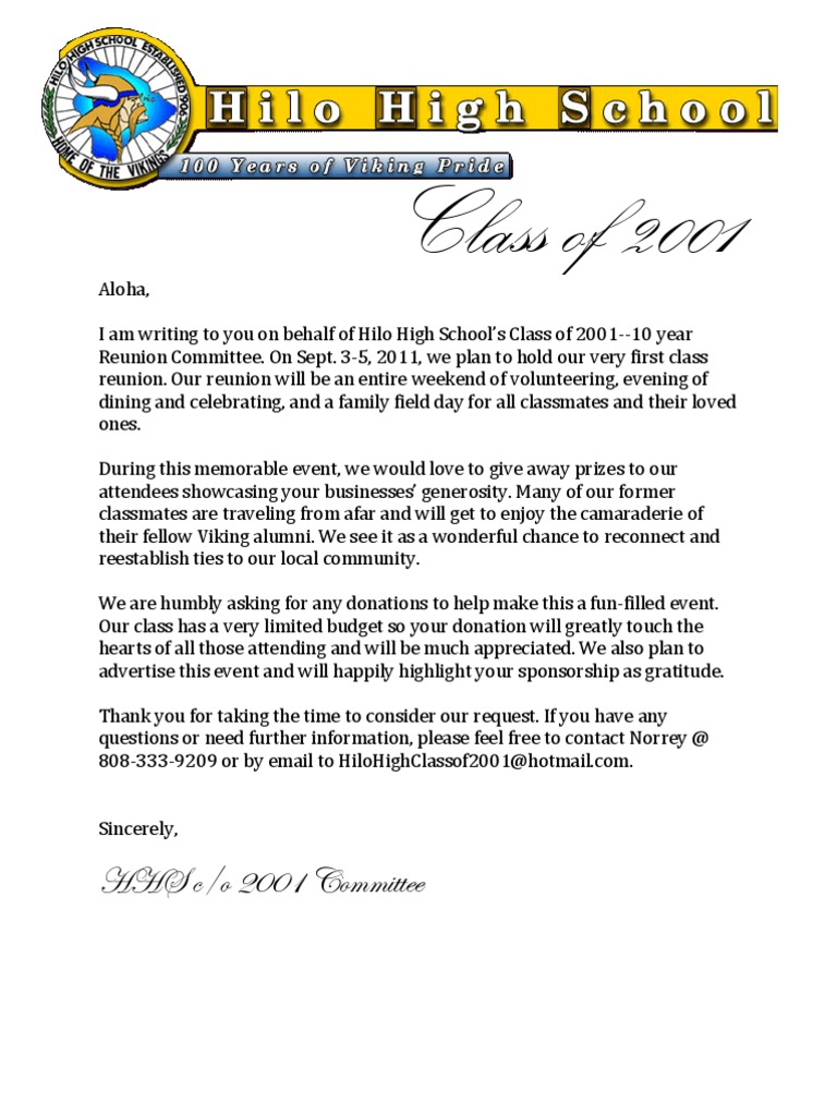 Hhs C O 2001 Reunion Donation Letter