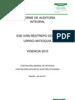Auditoría de la contraloría general de antioquia al hospital-ESE-gestión de 2010