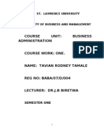 Course Work for Business Administration St. Law University