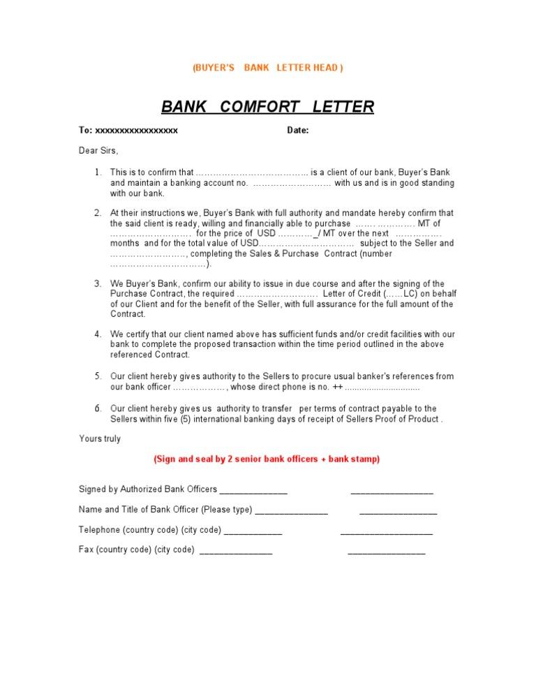 Bank Confirmation Letter Sample 3  Purchase Letter Format
