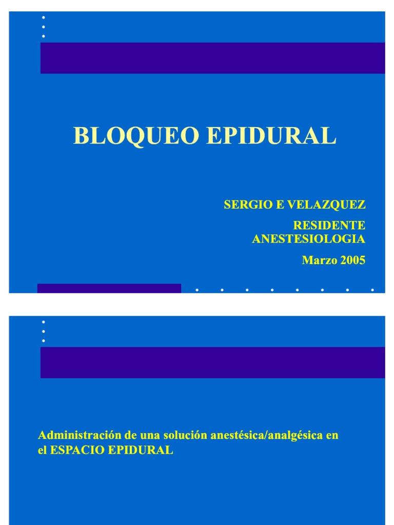 Analgesia Epidural General Ida Des