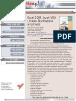 Excel 2007. Język VBA i makra. Rozwiązania w biznesie