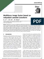 Multi Focus Image Fusion Base on Redundant Wavelet