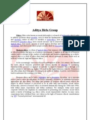 47580013 Aditya Birla Group | Business Ethics | Morality