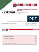 Le baromètre CSA-Les Echos - Août 2011