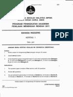 PMR Percubaan Bahasa Inggeris Negeri Kedah 2011 Kertas 1