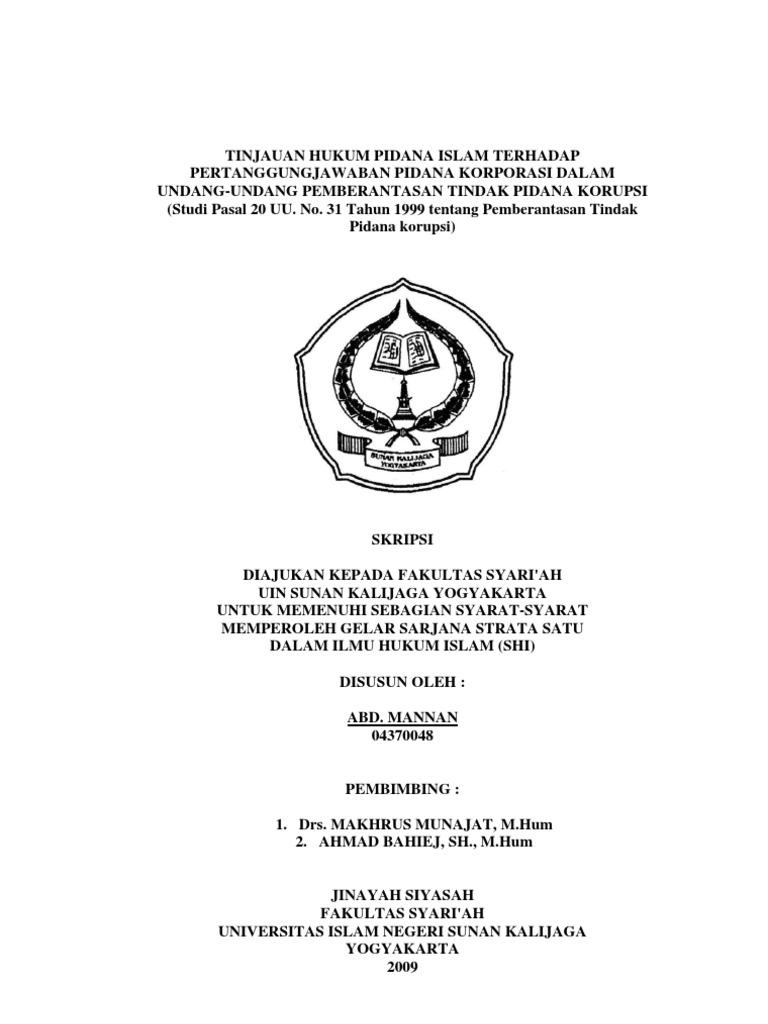 Tinjauan Hukum Pidana Islam Terhadap Pertanggung Jawaban Pidana Korporasi Dalam Undang Undang Pemberantasan Tindak Pidana Korupsi