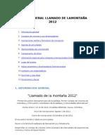 GUION DE LA PAGINA DEL LLAMADO DE LAMONTAÑA 2012
