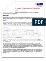 DOL Restaurants and Fast Food Establishments Under the Fair Labor Standards Act