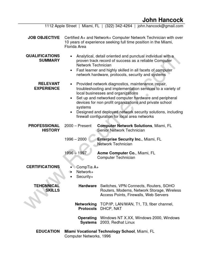 network technician resume sample  comp tia  local area network also