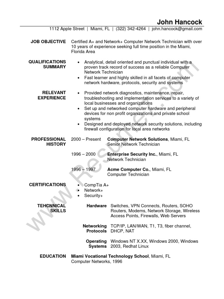 Network Technician Resume Sample | Comp Tia | Local Area Network  Computer Technician Resume