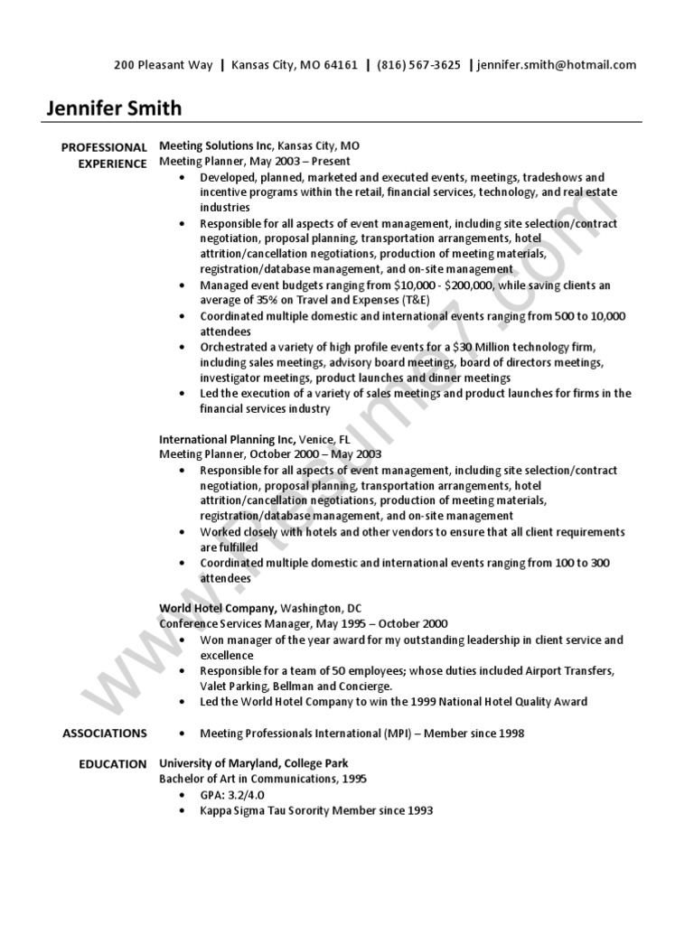 Event Planner Resume Sample | Business | Economies  Event Planner Resume Sample